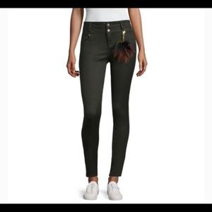 Sapphire Ink- Green Hi Rise Dbl Button Skinny Pant